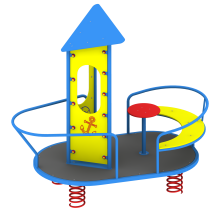 Statek na sprężynach. Huśtawka sprężynowa na plac zabaw dla dzieci.