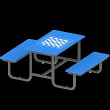 stolik z ławkami szach. gra w szachy