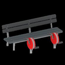 rowerek wolnostojący z ławką na siłowni plenerowej