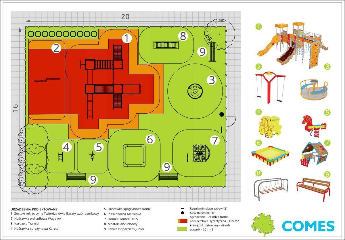 projek placu zabaw nawierzchnia syntetyczna